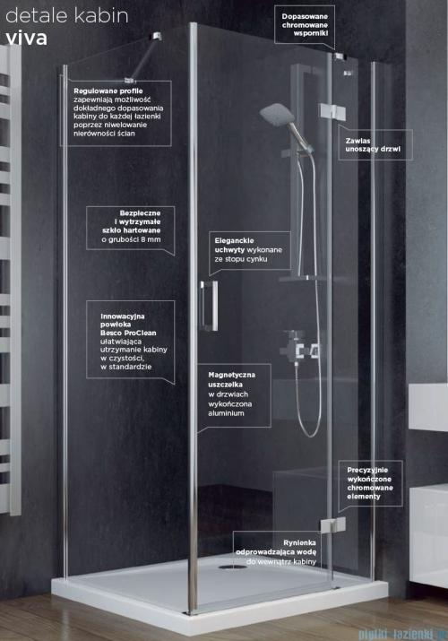 Besco Viva kabina pięciokątna prawa z brodzikiem 90x90cm przejrzyste V5P-90-195-C/BAB-90