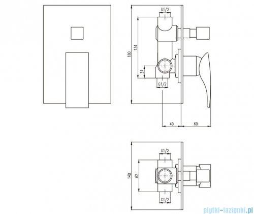 Deante MINIMAL Bateria natryskowa podtynkowa z przełącznikiem natrysku chrom BQM 044P