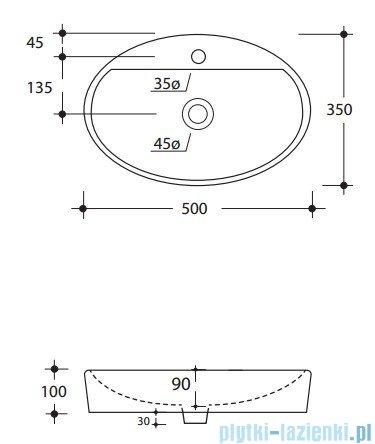 Kerasan Cento Umywalka owalna wolno stojąca 50x35 cm- 3551