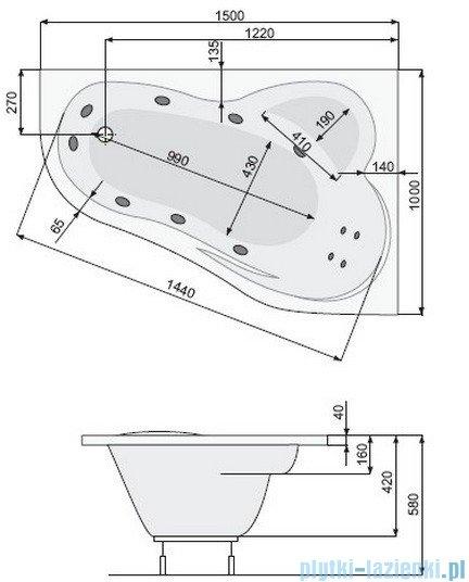 Poolspa Wanna asymetryczna LEDA 150x100 prawa + hydromasaż Smart 2 PHAE410ST2C0000