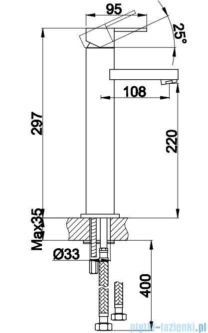 Kohlman Gixs bateria umywalkowa wysoka chrom QB170G