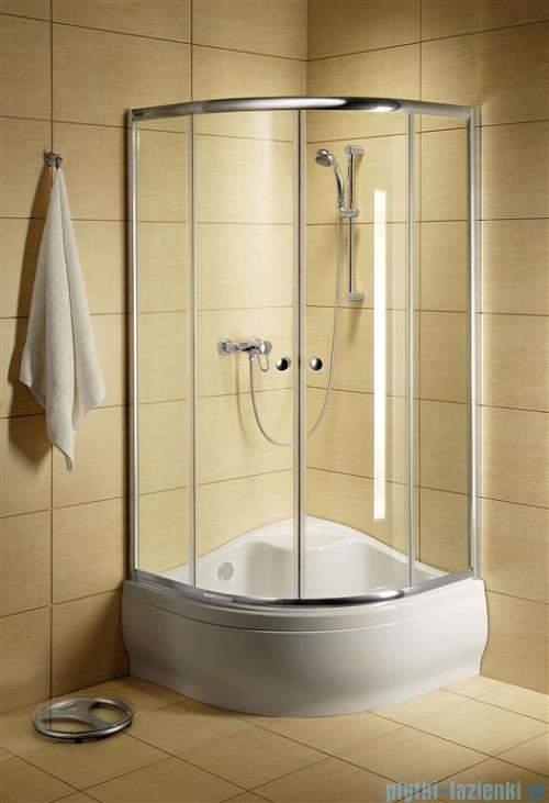 Radaway Classic A Kabina prysznicowa półokrągła z drzwiami przesuwnymi 80x80x170 szkło przejrzyste profile białe