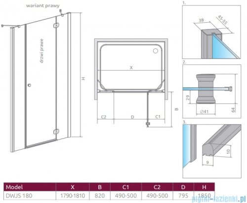 Radaway Torrenta Dwjs drzwi wnękowe 180 prawe szkło przejrzyste 320812-01-01R/320443-01-01