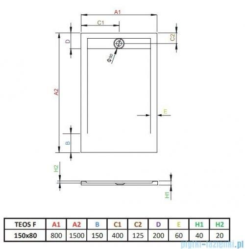 Radaway Teos F brodzik 150x80cm antracyt HTF15080-64