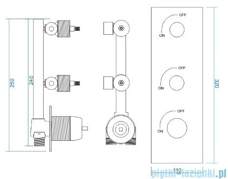 Corsan bateria podtynkowa z mieszaczem dwudrożna chrom rysunek techniczny