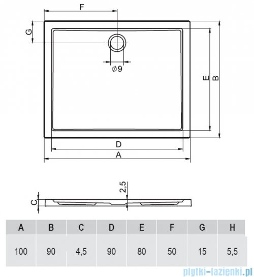 Riho Zurich brodzik prostokątny płaski 252 100x90x4,5 DA60