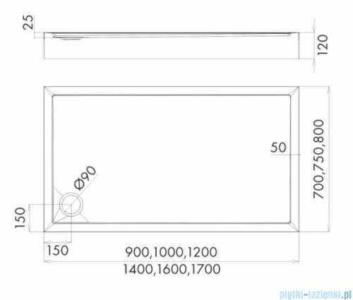 Schedpol Competia New brodzik prostokątny z SafeMase 140x70x12cm 3.4668