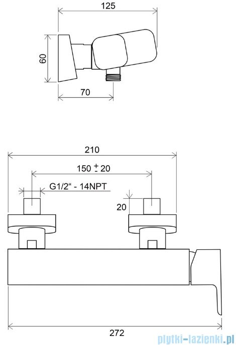 Ravak 10° bateria natryskowa ścienna X070066