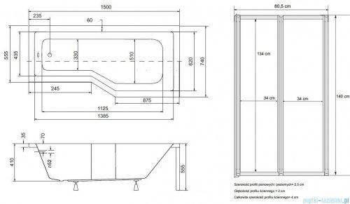 Besco Integra 150x75cm Wanna asymetryczna Prawa + parawan 2-skrzydłowy #WAI-150-PP2