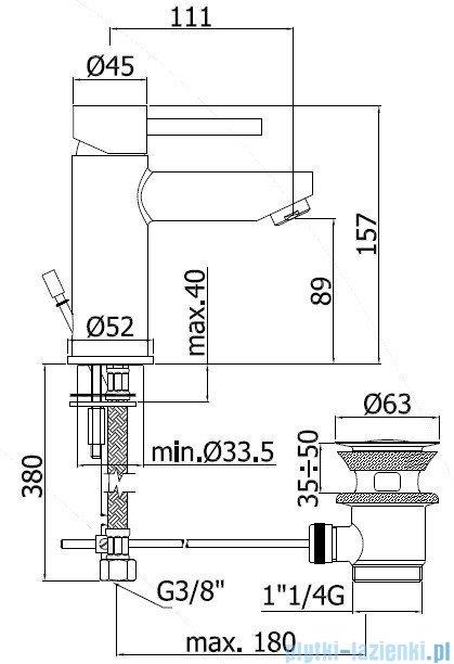Paffoni  Bateria umywalkowa stojąca Stick chrom SK075HCR