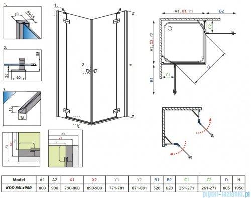 Radaway Almatea Kdd Gold kabina prysznicowa 80x90 szkło przejrzyste 32187-09-01N