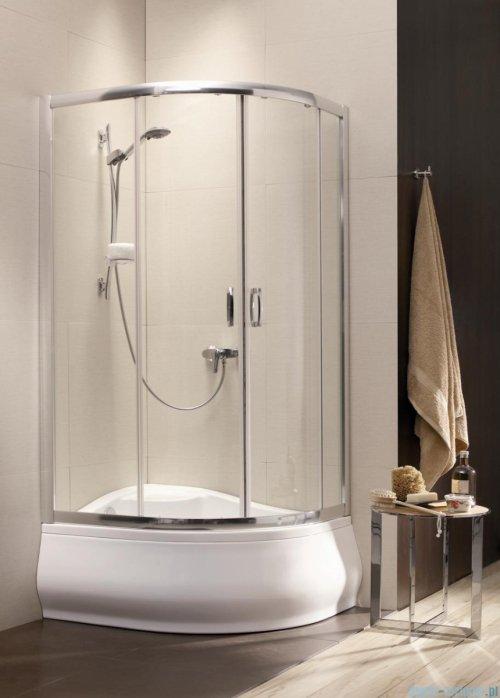 Radaway Premium Plus E Kabina półokrągła z drzwiami przesuwnymi 100x80cm szkło fabric
