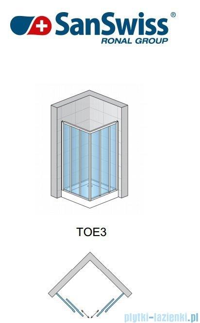 SanSwiss Top-Line TOE3 Wejście narożne 3-częściowe 90-120cm profil srebrny Prawe TOE3DSM20107