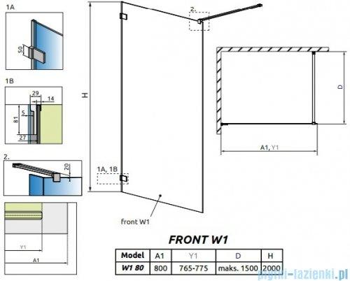 Radaway Euphoria Walk-in V kabina 80cm szkło przejrzyste rysunek techniczny