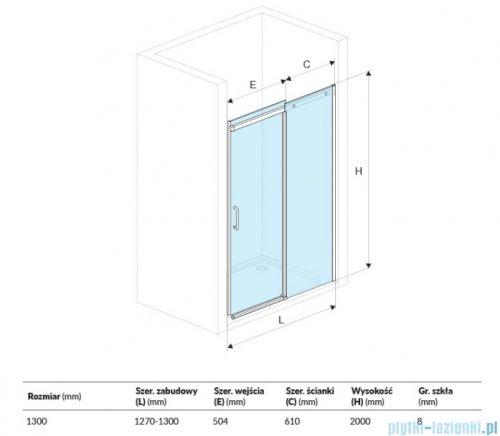 Excellent Rols drzwi wnękowe przesuwne 130 cm przejrzyste