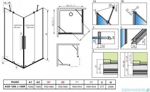 Radaway Furo Gold KDD kabina 100x100cm szkło przejrzyste 10105100-09-01L/10105100-09-01R