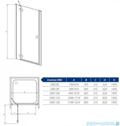 Radaway Essenza DWJ Drzwi wnękowe 100 prawe szkło brązowe 32722-01-08NR