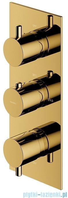Omnires Y bateria podtynkowa termostatyczna 3-wyjściowa element natynkowy złoty Y1238/KROGL