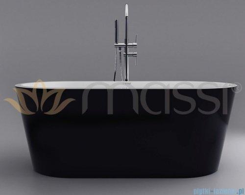 Massi Thermo 150 wanna wolnostojąca 150x75cm biało/czarna + syfon MSWA812150B