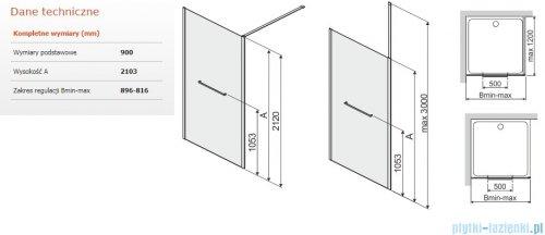 Sanplast Altus PI/ALTIIa kabina walk-in 90x212 cm przejrzyste 600-121-2531-42-401