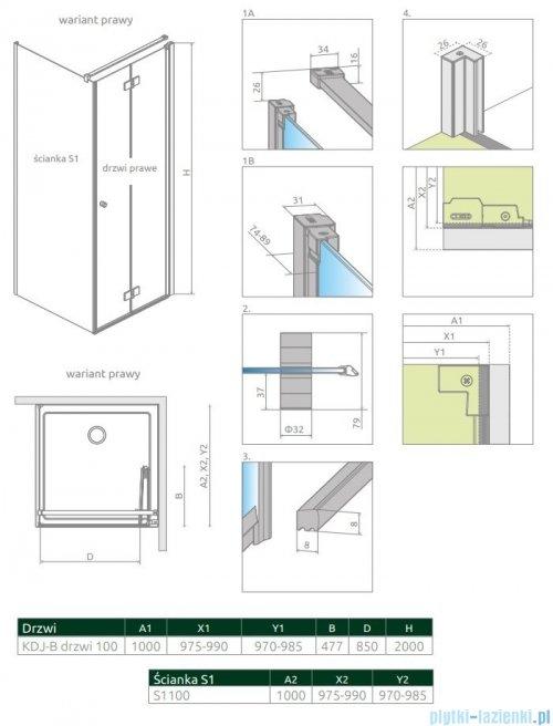 Radaway Nes Black KDJ B kabina 100x100 prawa przejrzyste 10025100-54-01R/10039100-01-01