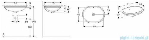 Koło Variform umywalka podblatowa 55x40cm 500.756.01.6