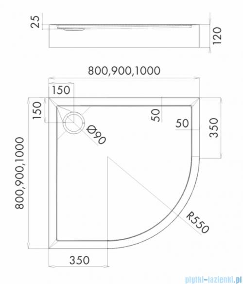 Schedpol Competia New brodzik półokrągły z SafeMase 100x100x12cm 3.4635