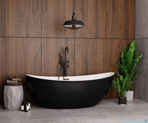 The North Bath Frigg wanna wolnostojąca biało-czarna 180x87cm + syfon Klik-klak 6807B-1801-BLBP