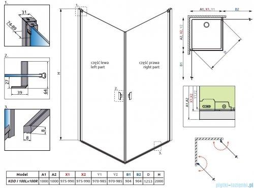 Radaway Nes Black Kdd I Frame kabina 100x100cm rysunek techniczny
