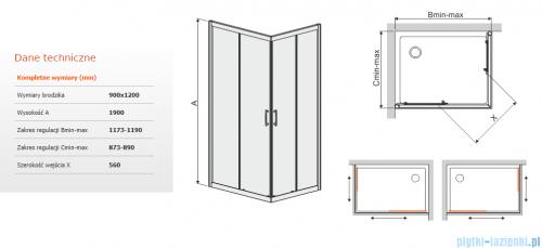 Sanplast TX KN/TX5b kabina prostokątna 90x120x190 cm przejrzysta 600-271-1860-38-401