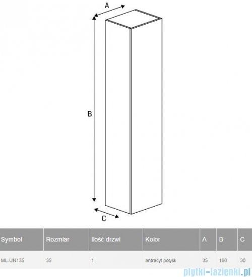 New Trendy Kubiko słupek wiszący 35x160 cm antracyt połysk ML-UN135