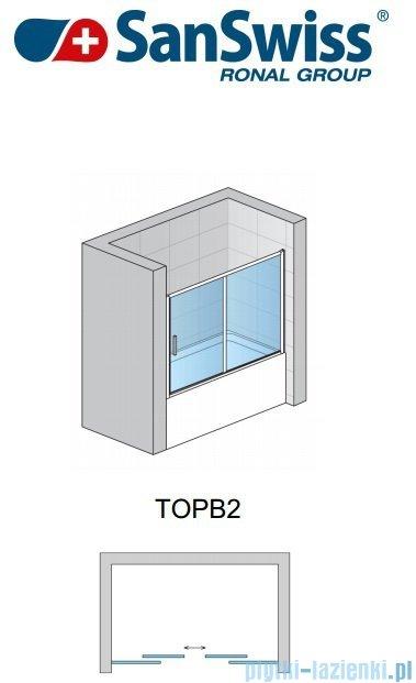 SanSwiss Top-Line TOPB2 Parawan nawannowy 2-częściowy 170cm profil srebrny TOPB217000107