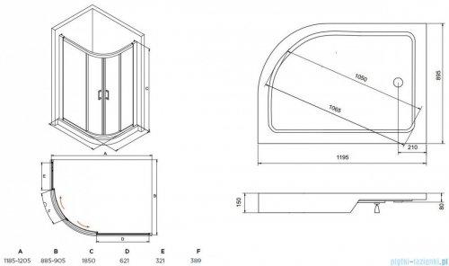 Besco Modern kabina asymetryczna z brodzikiem prawym 120x90cm przejrzyste MA-120-90-C/#BAS-120-NP