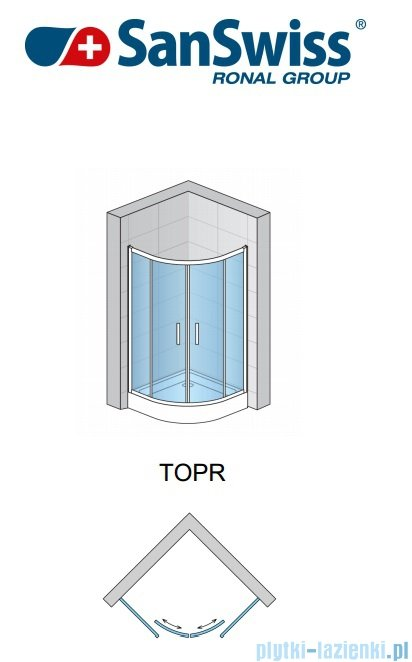 SanSwiss Top-Line TOPR Kabina prysznicowa półokrągła 90-120cm profil biały TOPR50SM20407
