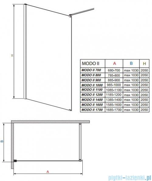 Radaway Modo II kabina Walk-in 100x205 przejrzyste 352104-01-01N