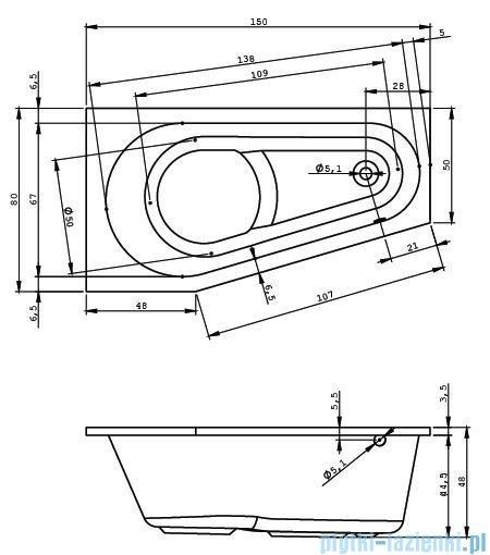 Riho Delta wanna asymetryczna 150x80cm prawa nóżki+syfon BB80/01U/AMC55