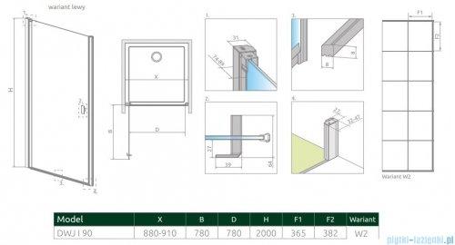 Radaway Nes Black Dwj I Factory Drzwi wnękowe 90cm lewe rysunek techniczny