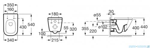 Roca Gap Rimless miska WC wisząca + deska wolnoopadająca Slim A34647L000/A801482211