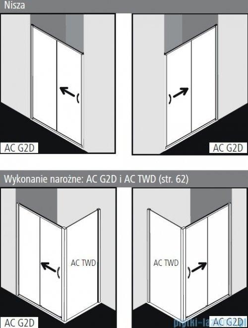 Kermi Acca drzwi przesuwne 2-częściowe z polem stałym 100 cm ACG2D10019VPK