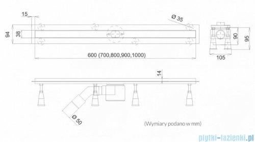 Schedpol Schedline odpływ liniowy z maskownicą slight stamp 70x3,5cm SOLSP-70035