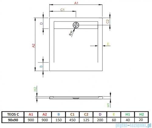 Radaway Teos C brodzik kwadratowy 90x90cm antracyt HTC9090-64