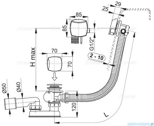 Alcaplast  syfon wannowy z funkcją napełniania przez przelew chrom A564KM3