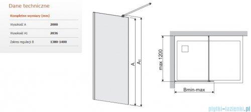 Sanplast Space Wall P/SPACEWALL kabina walk-in 140x200 cm przejrzyste 600-320-2180-42-401