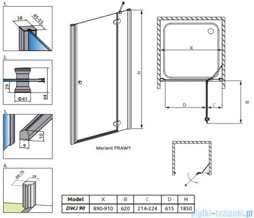 Radaway Torrenta DWJ drzwi wnękowe 90 prawe szkło grafitowe 32000-01-05N