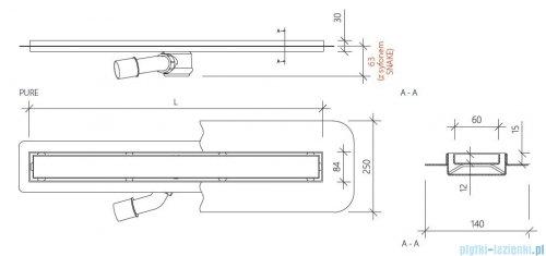 Wiper New Premium Pure Odpływ liniowy z kołnierzem 70 cm szlif 100.1973.02.070