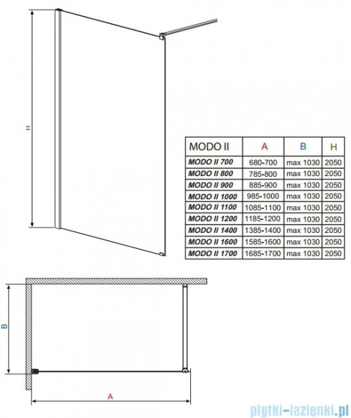 Radaway Modo II kabina Walk-in 110x205 przejrzyste 352114-01-01N