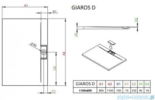 Radaway Giaros D Brodzik prostokątny 110x80x4cm M3GRD1180