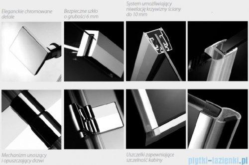 Radaway Kabina prysznicowa Almatea KDJ+S 80x120x80 prawa szkło przejrzyste + brodzik Doros D + syfon detale