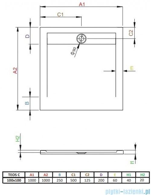Radaway Teos C brodzik kwadratowy 100x100cm cemento HTC100100-74