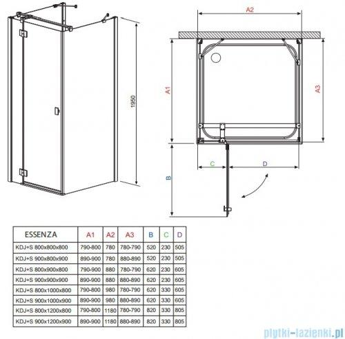 Radaway Kabina prysznicowa Essenza KDJ+S 80x90x80 lewa szkło przejrzyste 32956-01-01L